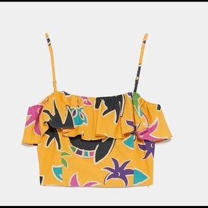 Zara Printed Ruffle Crop Top